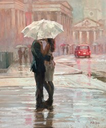 Kissing in the Rain by Mark Spain -  sized 20x24 inches. Available from Whitewall Galleries